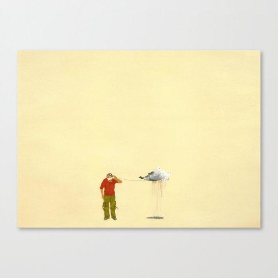 man listening to a cloud Canvas Print