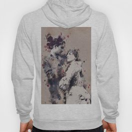 Vintage Lovely Couple Abstract Poker Papers Art Painting. Hoody