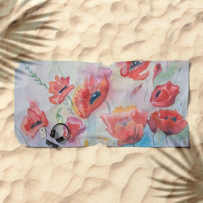 field of poppies Beach Towel