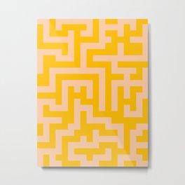 Deep Peach Orange and Amber Orange Labyrinth Metal Print