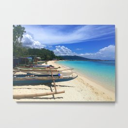 View of the stunning Lambug White Sand Beach and the turquoise ocean in Moalboal, Cebu, Philippines Metal Print