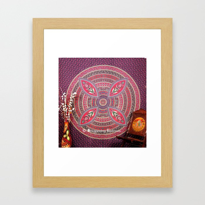 Purple Mandala Dorm Tapestry Wall Hangings Bedding Framed Art Print