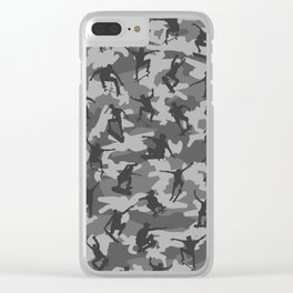 Skater Camo B&W Clear iPhone Case