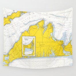 Vintage Map of Martha's Vineyard (1967) Wall Tapestry