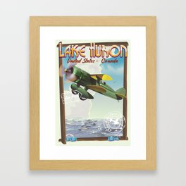 Lake Huron Vintage travel poster. Framed Art Print