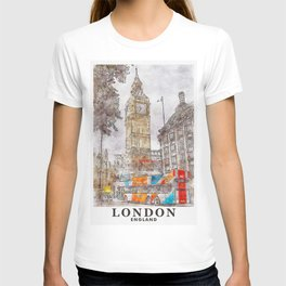 London England United Kingdom Painting Travel Art T-shirt