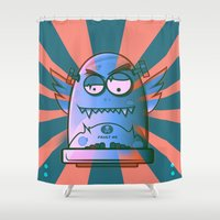 fault Shower Curtains featuring Fault 45 02 (its not his fault) by Face Leakage