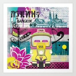 Bangkok - Graffiti Pink Art Print
