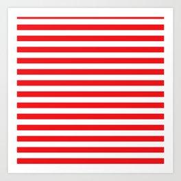 Red white stripes Art Print
