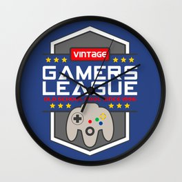 Geeky Gamer Chic Classic Vintage Gaming N64 Inspired Vintage Gamer League Old School Cool Wall Clock