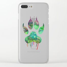 Watercolor - Wolf paw Clear iPhone Case