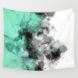 Mint Green Paint Splatter Abstract Wall Tapestry