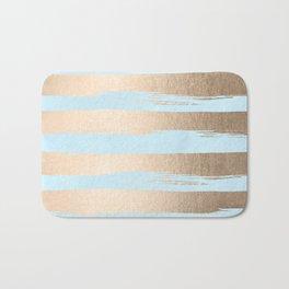 Paint Stripes Gold Tropical Ocean Sea Turquoise Bath Mat