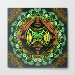 Tribal patterns mandala with fisheye effect Metal Print