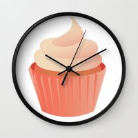 cupcake Wall Clocks featuring Cupcake by Syrupea