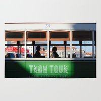 portugal Area & Throw Rugs featuring Lisbon Portugal tramway by Sébastien BOUVIER