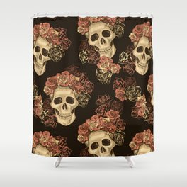 Skulls and Roses Spooky Halloween Shower Curtain