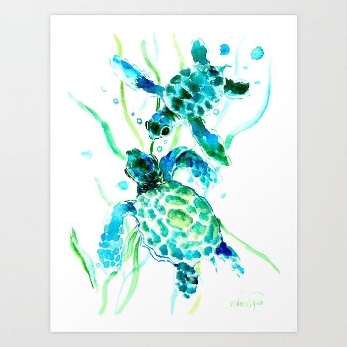 Sea Turtles, Turquoise blue Design Art Print