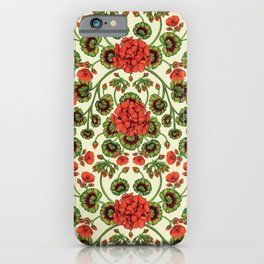 Red Geraniums -  Vintage-Inspired Floral Pattern For Spring iPhone Case