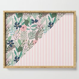 floral and stripe- pink/green Serving Tray