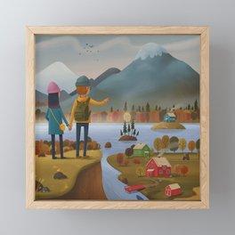 Into the mountains! Framed Mini Art Print