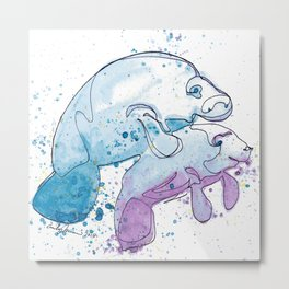 Manatee Mommy with Her Baby Metal Print