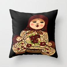 Russian dolls 2 / warmer colors  Throw Pillow