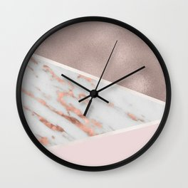 Lilac Lemonade - rose gold marble Wall Clock
