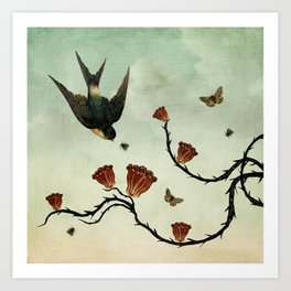 Bird & Brambles Art Print