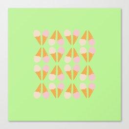 Ice Cream Cone Print Green  Canvas Print