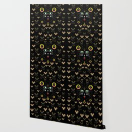 Merry black cat in the night and a mouse involved pop-art Wallpaper