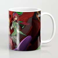 evangelion Mugs featuring Evangelion Girls by Esteban Barrientos