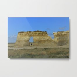 Monument Rock in western Kansas with blue sky. Metal Print