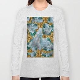 WHITE QUARTZ  CRYSTALS & BLUE-GREEN AQUAMARINE Long Sleeve T-shirt