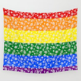 Christmas Pride Bright Festive Rainbow Snowflakes Wall Tapestry