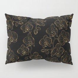 Flowers orchids ornament gold Pillow Sham