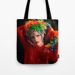 Drag Queen in Rainbow Headdress Tote Bag