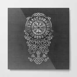 Vegvisir  with Tree of life  Yggdrasil  and Runes Metal Print
