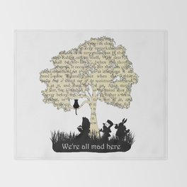 We're All Mad Here II - Alice In Wonderland Silhouette Art Throw Blanket