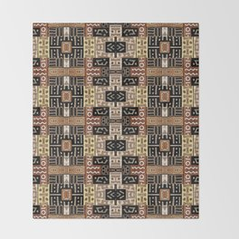 Runic Carved Wood Effect Tribal Pattern Throw Blanket