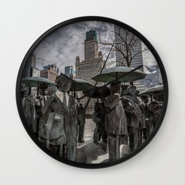 Chicago Sculptures Commuting to Work Wall Clock