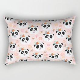 Panda bear with flowers seamless pattern Rectangular Pillow