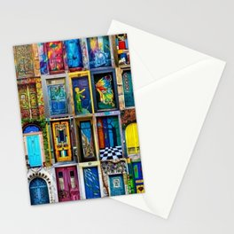 Behind Every Door (Is A Home), Collage Painting of Colorful World Doors by Jeanpaul Ferro Stationery Cards