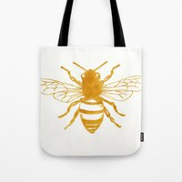 preppy Tote Bags featuring Bee Preppy by Megan Carn