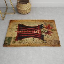 elegant girly lily flower newspaper print  black red corset Rug