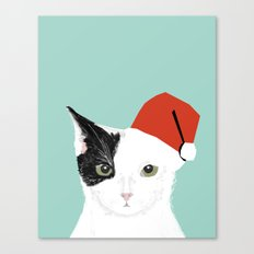 Christmas Cat black and white mint kids children art cat lady gift idea for the holidays purrfect  Canvas Print