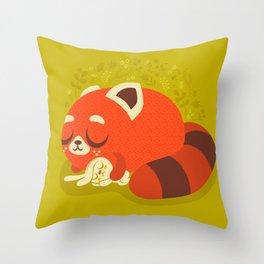 Sleeping Red Panda and Bunny / Cute Animals Throw Pillow