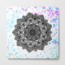 Paint Spattered Mandala Metal Print