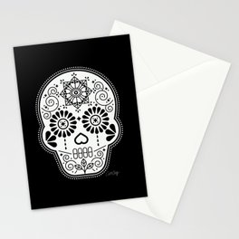 Día de Muertos Calavera • Mexican Sugar Skull – White on Black Stationery Cards