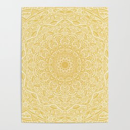 Most Detailed Mandala! Yellow Golden Color Intricate Detail Ethnic Mandalas Zentangle Maze Pattern Poster